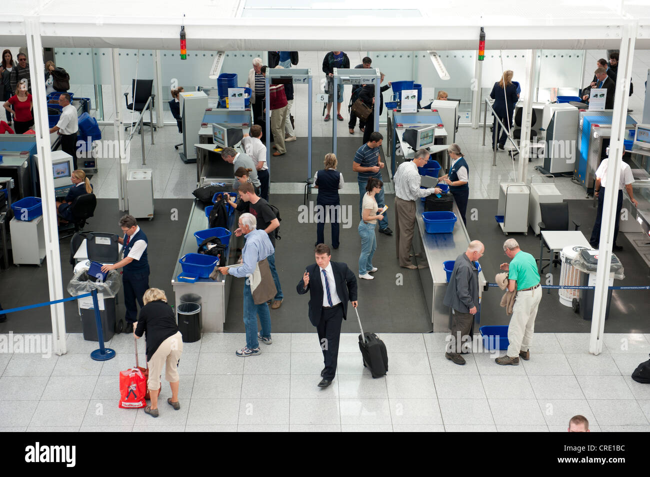 Security control, passenger screening, x-ray machines, air traffic, Munich Airport, Upper Bavaria, Bavaria, Germany, - Stock Image