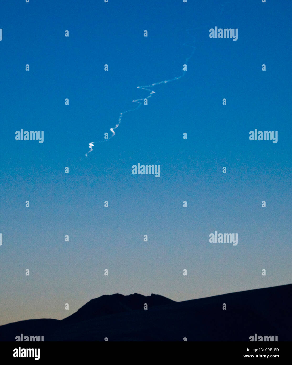 meteorite trace, direction West to South, about 1 min after glow, Norway, Troms, Kvaloeya - Stock Image
