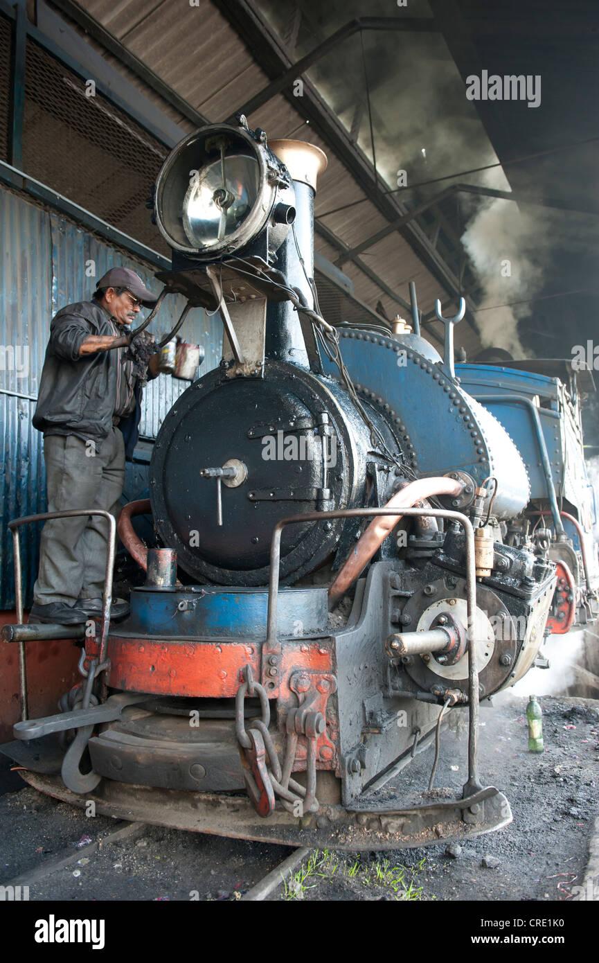 Historic train being repaired by worker, Darjeeling Himalayan Railway, narrow-gauge railway, Toy Train - Stock Image