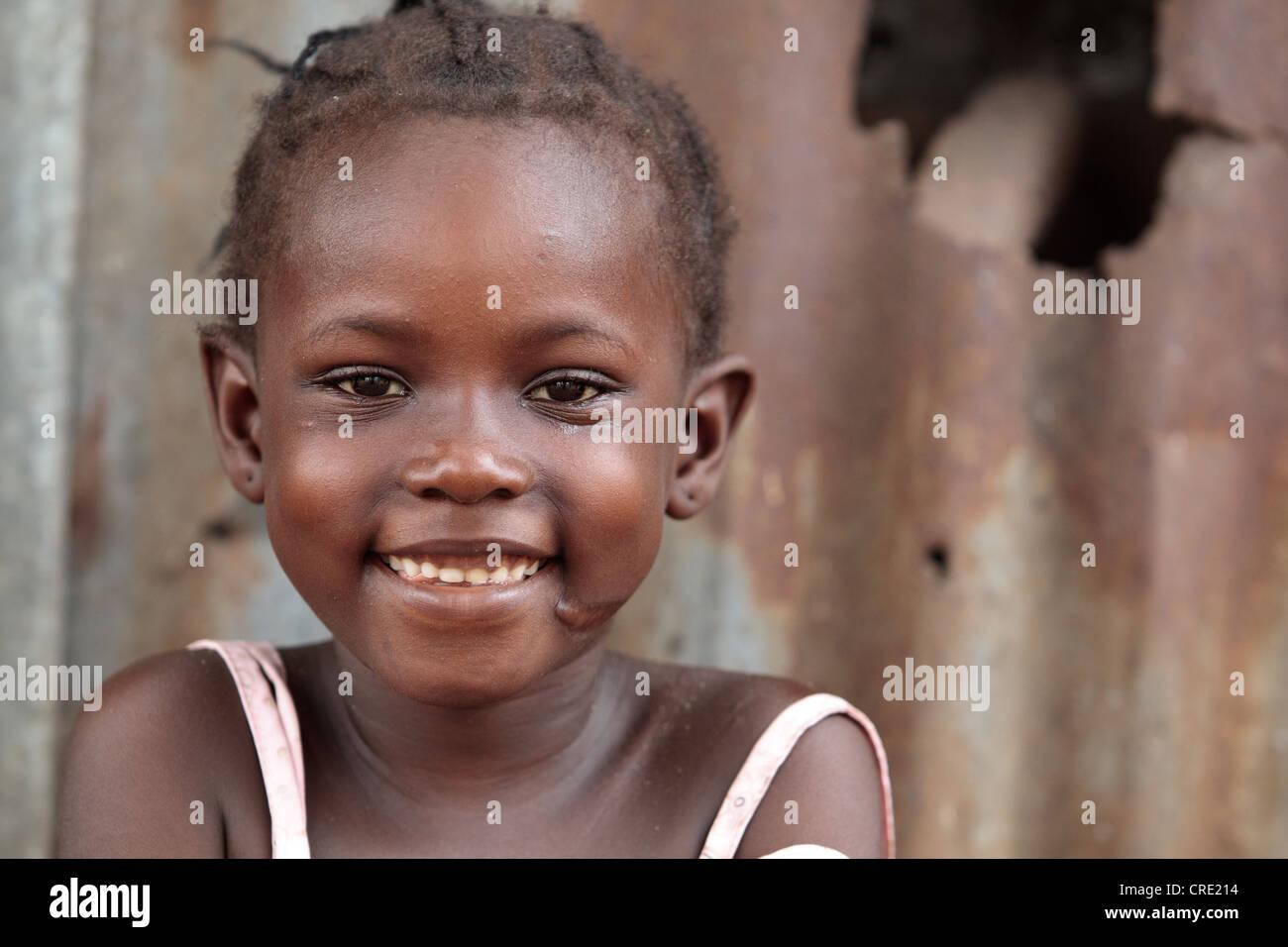 Portrait of a girl in the Point Four neighborhood of Monrovia, Montserrado county, Liberia on Thursday April 5, - Stock Image