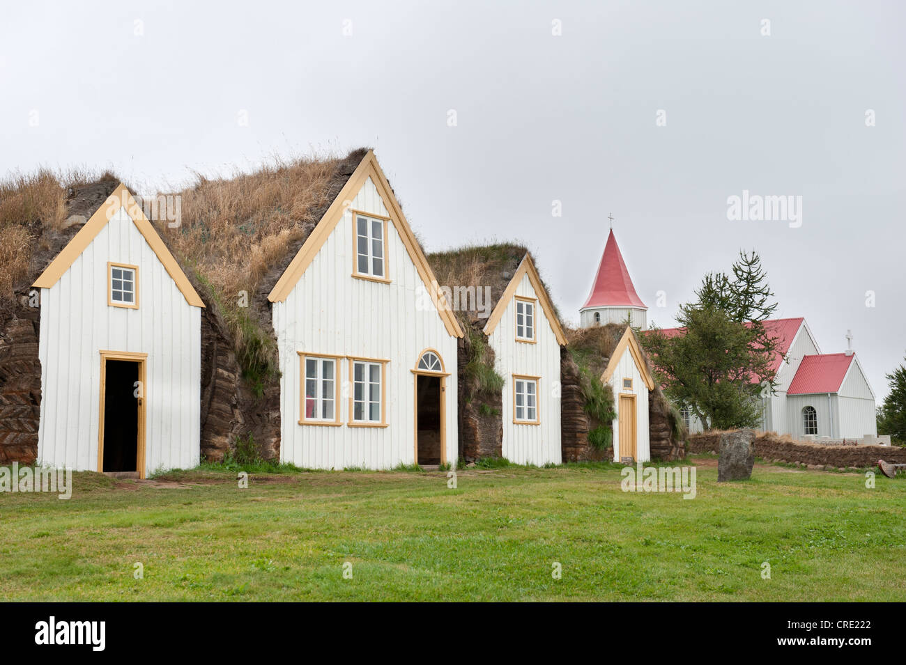 Open-air museum with church, sod houses, turf and sod constructions, Skagfjordur Heritage Museum, Glaumbær, - Stock Image