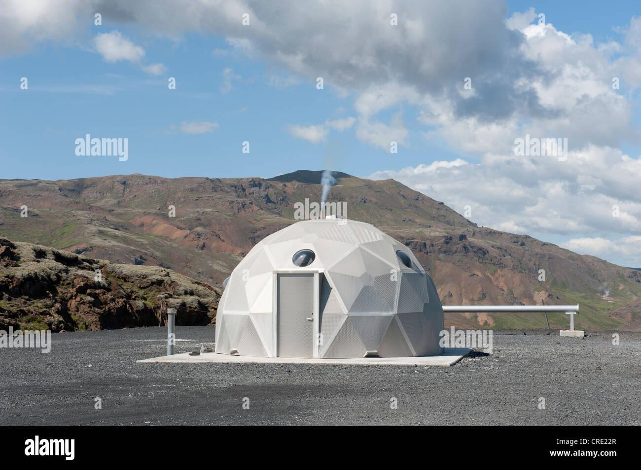 Futuristic house, geothermal power plant, Nesjavellir power plant, Hveragerði, Hengill region, Iceland, Scandinavia - Stock Image
