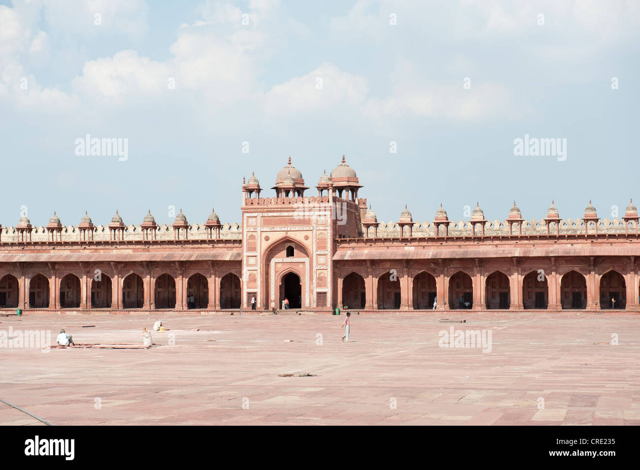 Mosque, Iwan and gateway, Jama Masjid Mosque, Fatehpur Sikri, Uttar Pradesh, India, South Asia, Asia - Stock Image