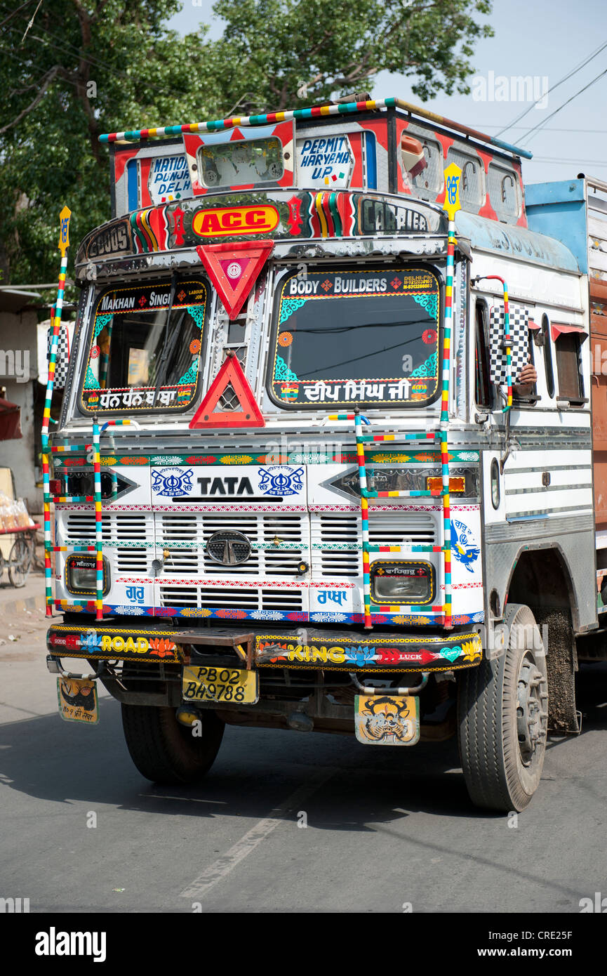 Transport, Tata truck with richly decorated cab, Amritsar, Punjab, India, South Asia, Asia - Stock Image