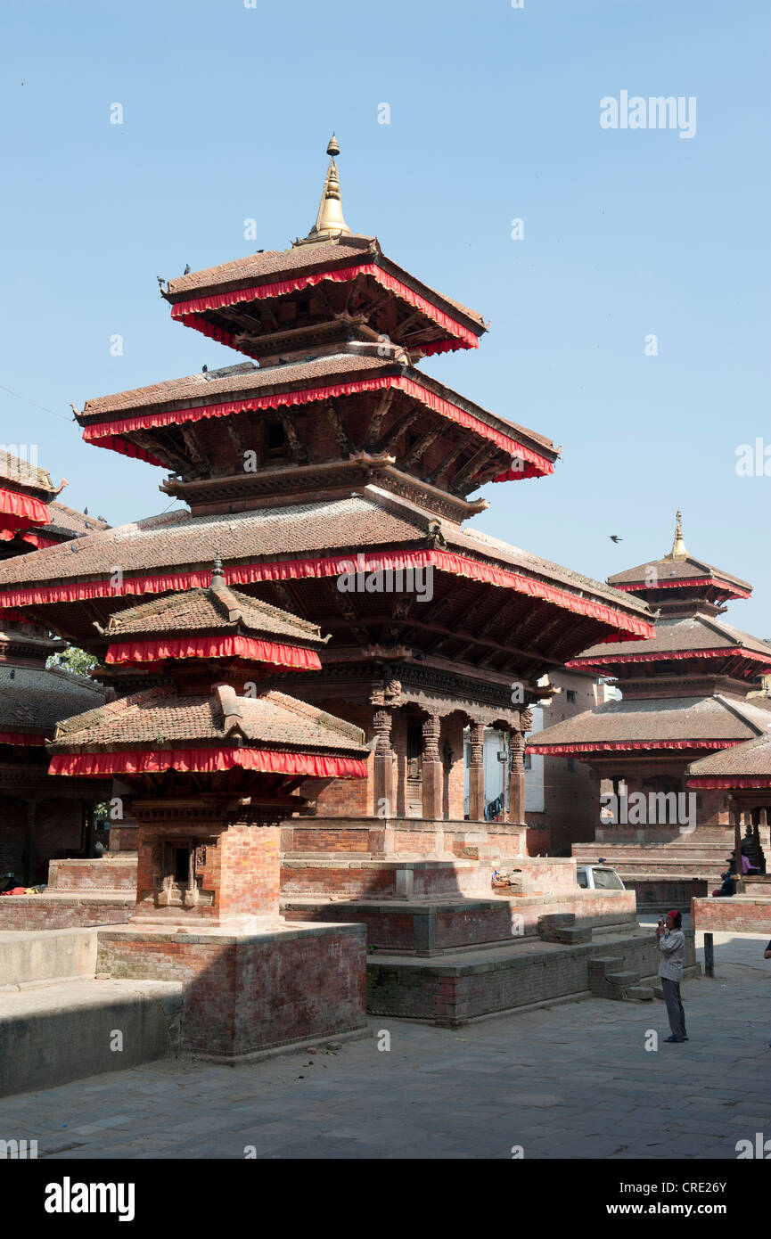 Hinduism, Hindu temple, three-story Nepalese pagoda, square in front of the Hanuman Dhoka Royal Palace, Durbar Square, - Stock Image