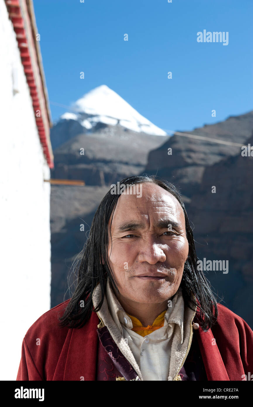 Tibetan Buddhism, portrait, pilgrim with long hair, Choku Gompa Monastery, path for pilgrims, Kora - Stock Image