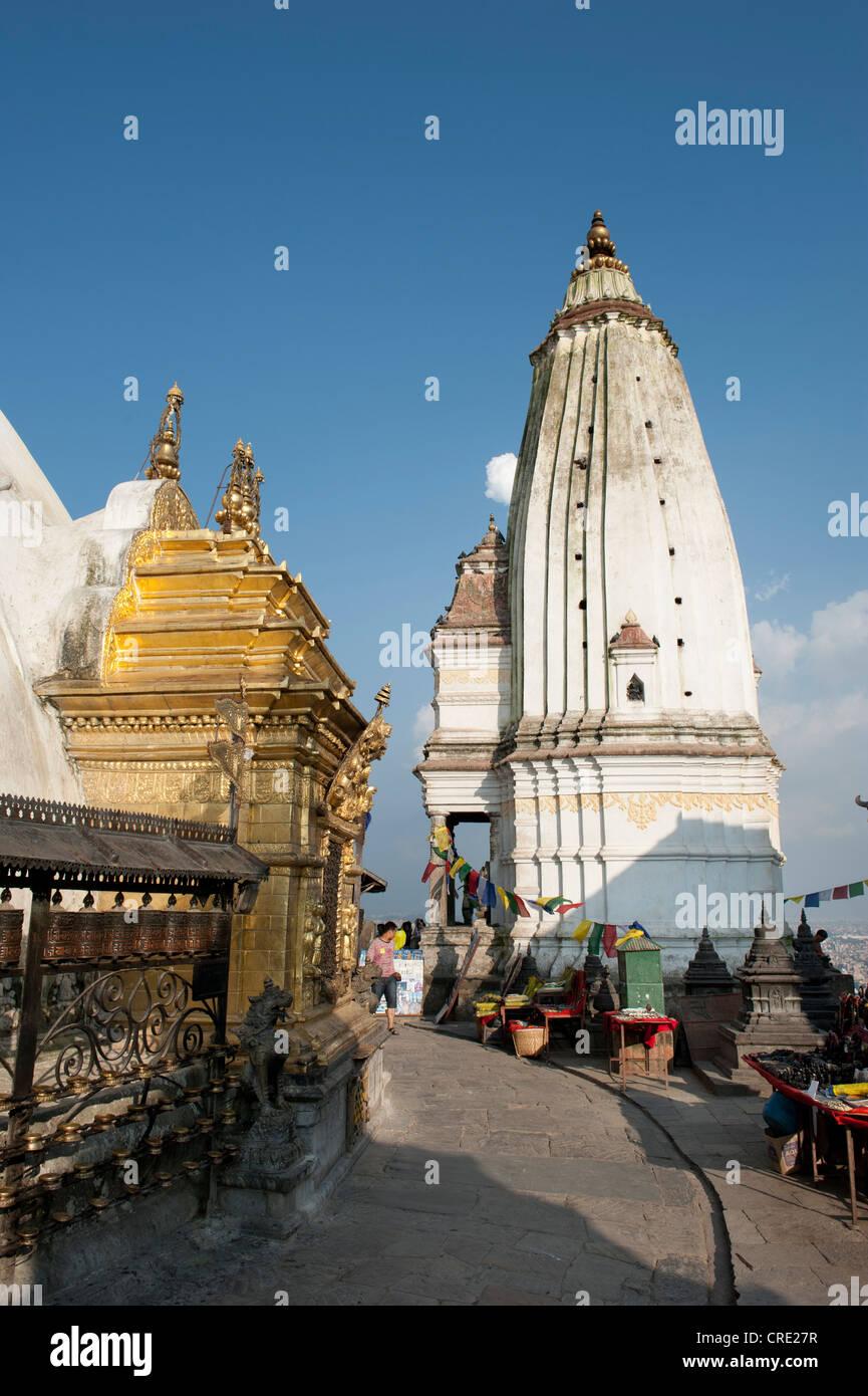 Tibetan Buddhism, Hinduism, Swayambhunath Temple, Ananthapura shikhara, Himalayas, Kathmandu, Kathmandu Valley, - Stock Image