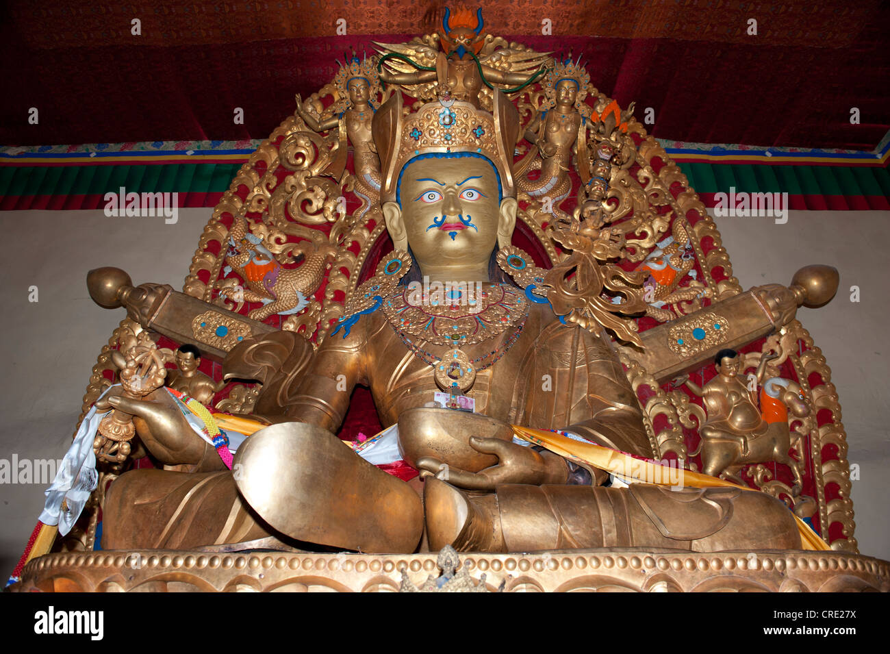 Tibetan Buddhism, large statue, holy Padmasambhava in the Rongbuk Monastery, Mount Everest region, Himalayan, central - Stock Image