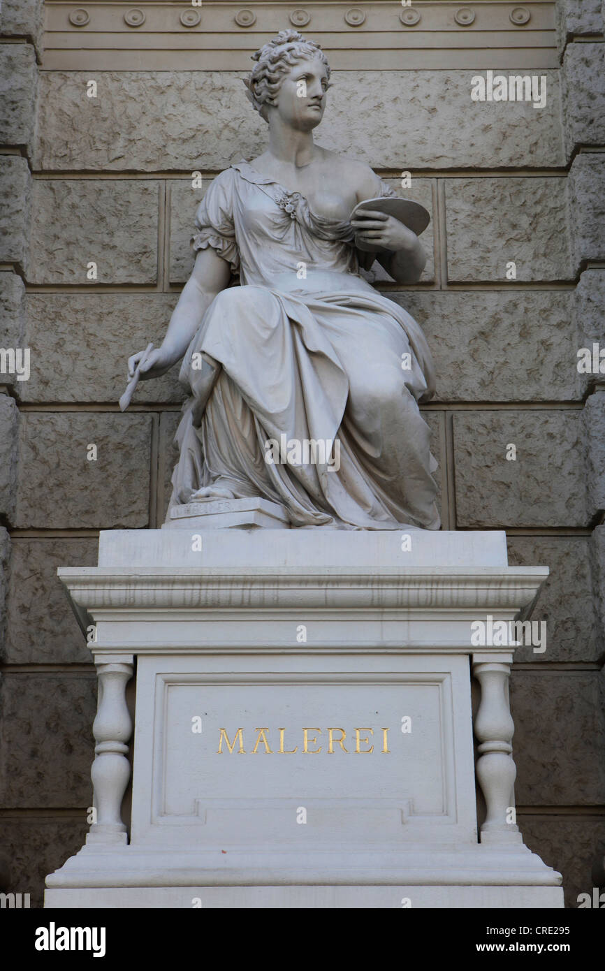 Statue as a symbol for painting in front of the Art History Museum, Vienna, Austria, Europe Stock Photo