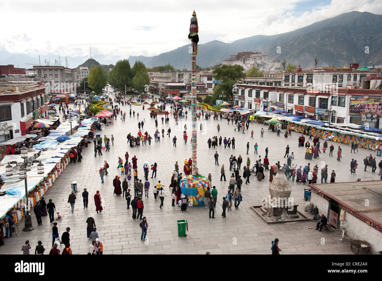 View from the Jokhang Temple in the Barkhor square, Lhasa, Himalayas, Tibet, China, Asia - Stock Image