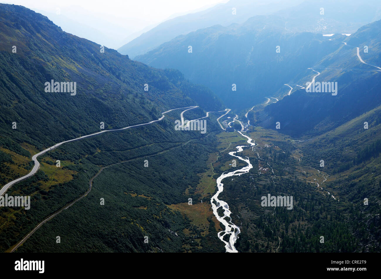 View from Gletsch over the mountain pass roads from Furka and Grimsel, Valais, Switzerland, Europe - Stock Image