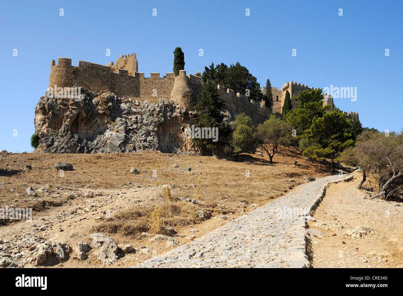 Acropolis, Lindos, Rhodes island, Greece, Europe Stock Photo