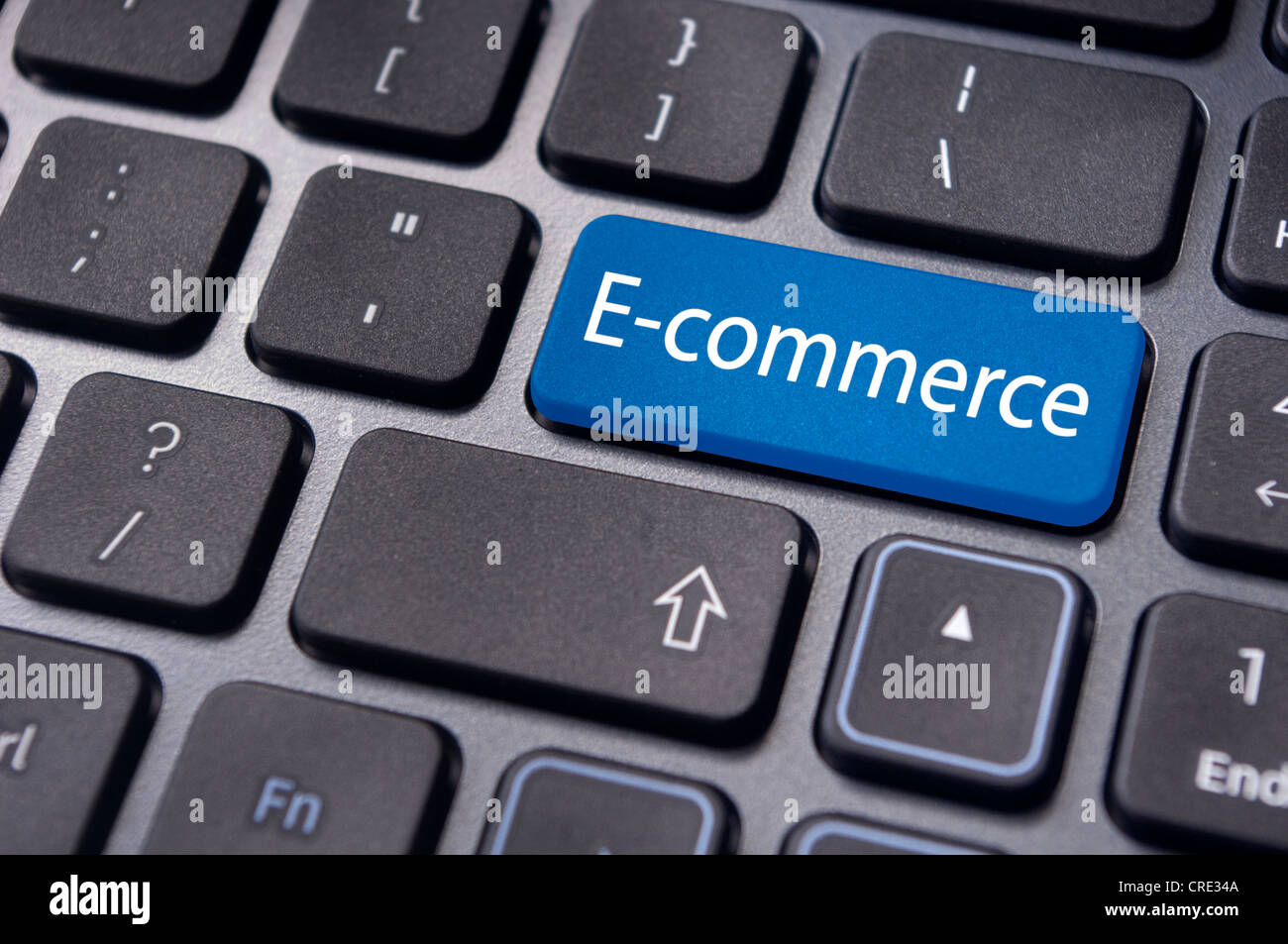concept of e-commerce or ecommerce, electronic commerce, with message on computer keyboard. - Stock Image