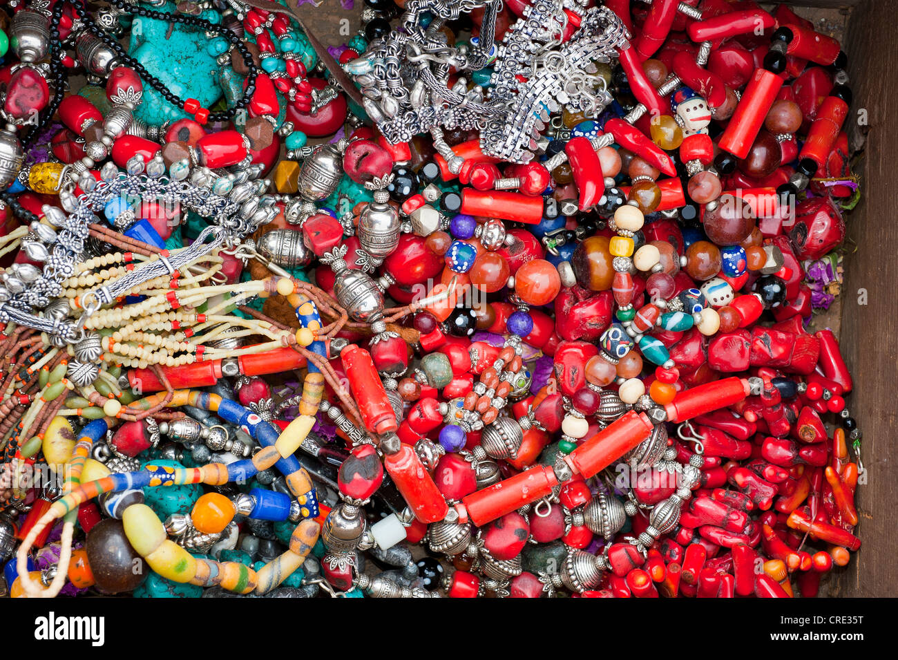 Oriental jewellery, necklaces with colourful beads and coral, souk, bazaar, Morocco, Africa - Stock Image