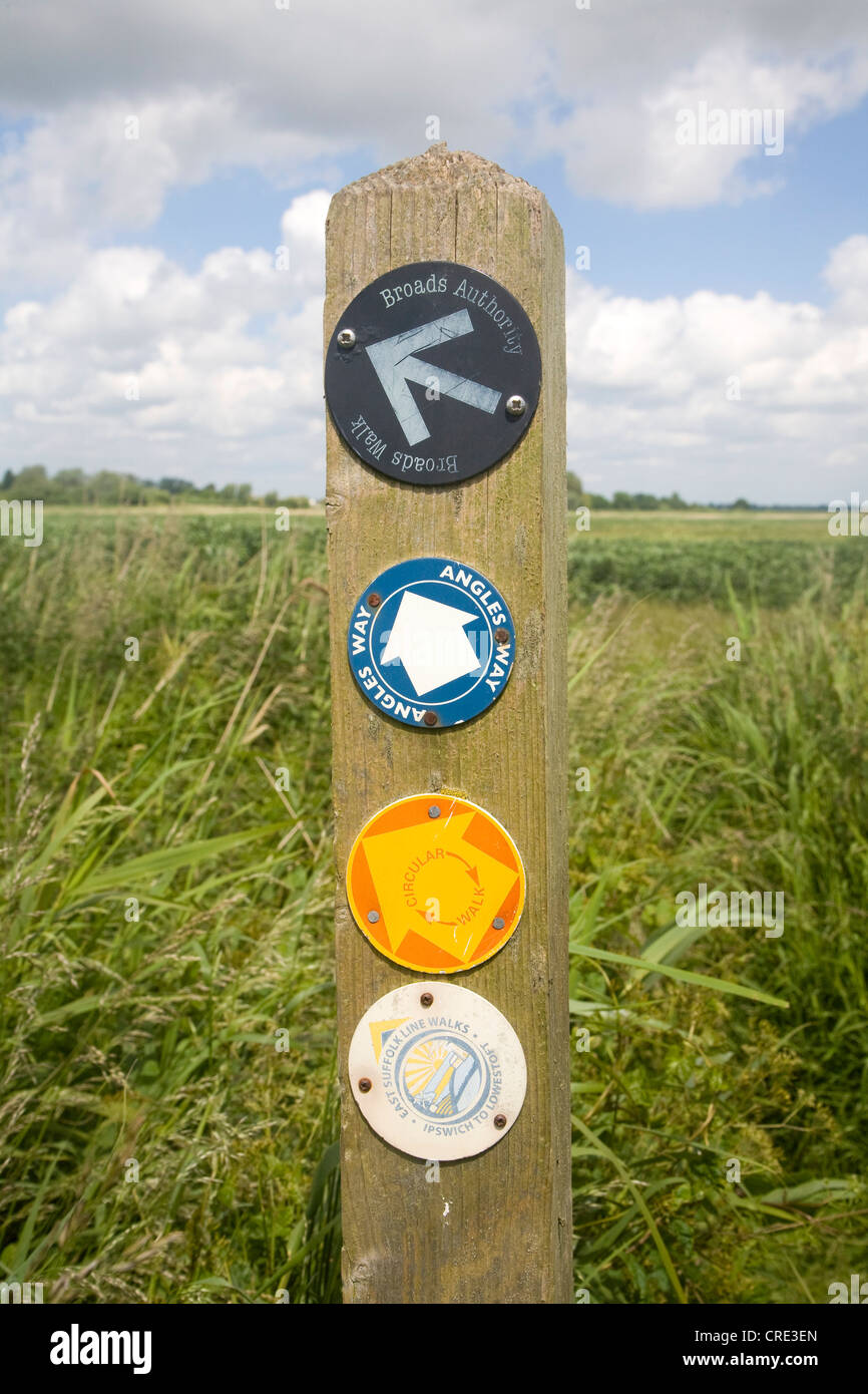 Angles way long distance footpath marker post near Oulton Broad, Suffolk, England - Stock Image