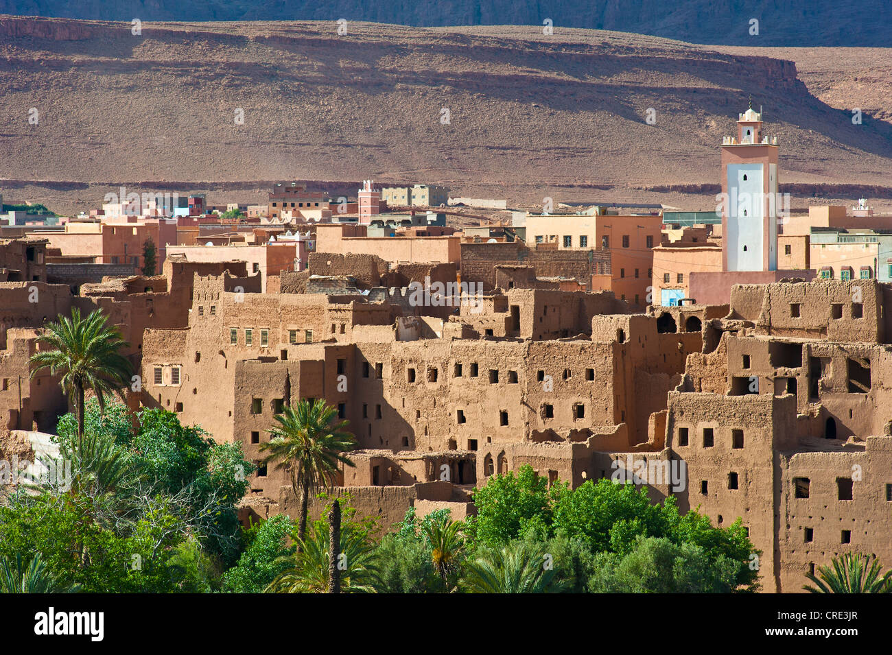 Oasis village, decaying kasbahs, mud fortresses, residential castles of the Berber tribe with modern houses and - Stock Image
