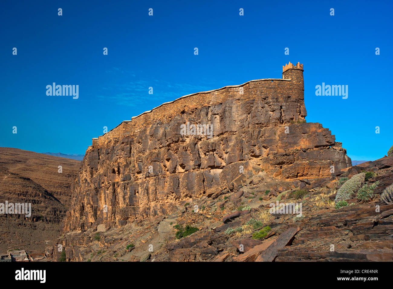 Fortified granary, Agadir Id Aissa, on a cliff top, Amtoudi, Anti-Atlas Mountains, southern Morocco, Morocco, Africa - Stock Image