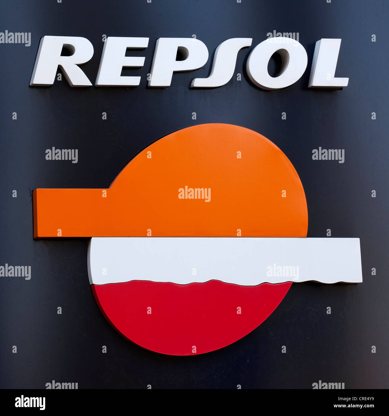 Logo and logotype of the Spanish oil company Repsol, Madrid, Spain, Europe - Stock Image