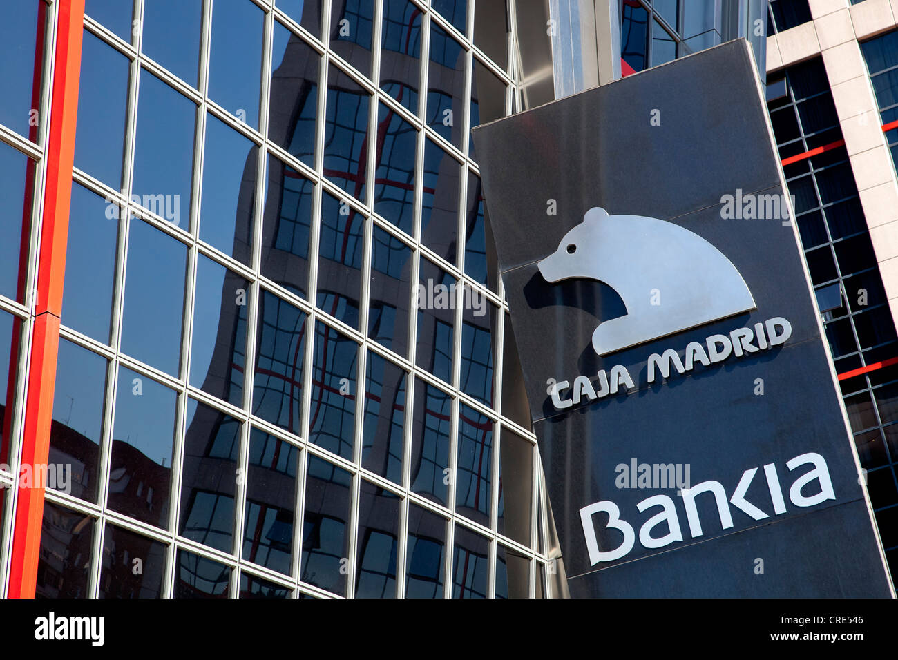 Modern office towers, Puerta de Europa, also called Torres Kio, with the headquarters of the bank Bankia, to which - Stock Image