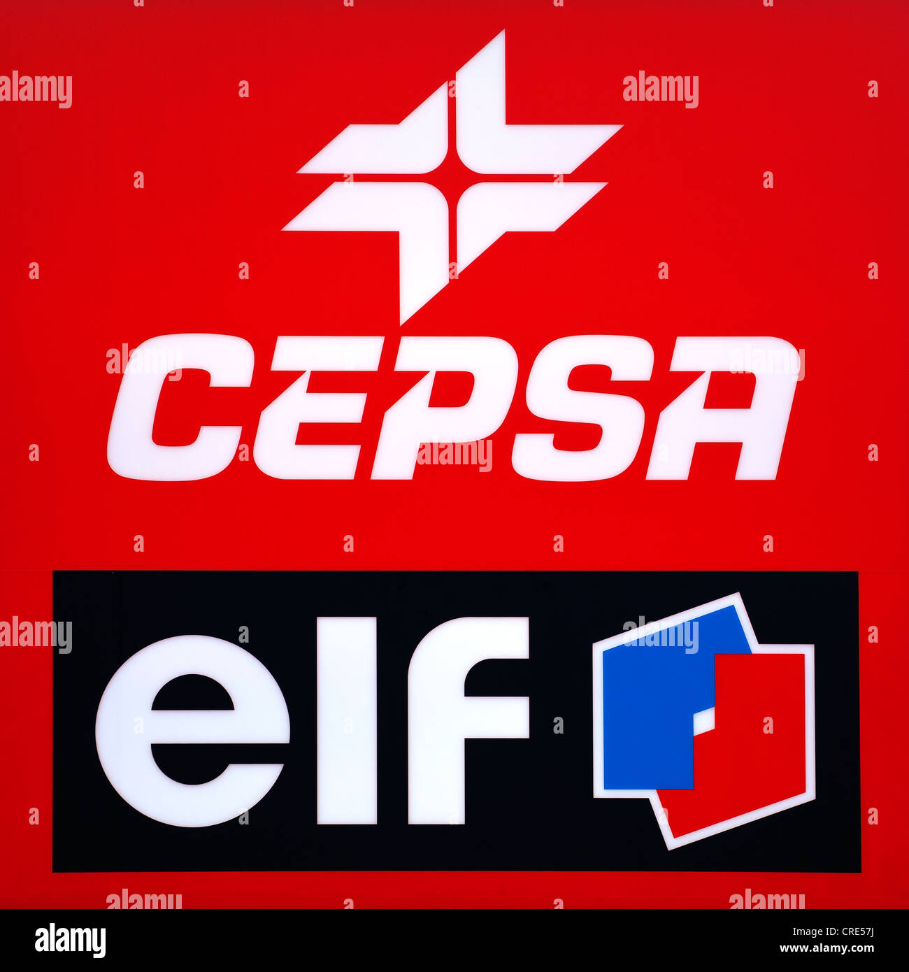Logos and logotypes of the Spanish oil company Cepsa, Compania Espanola de Petroleos, and the French oil company - Stock Image