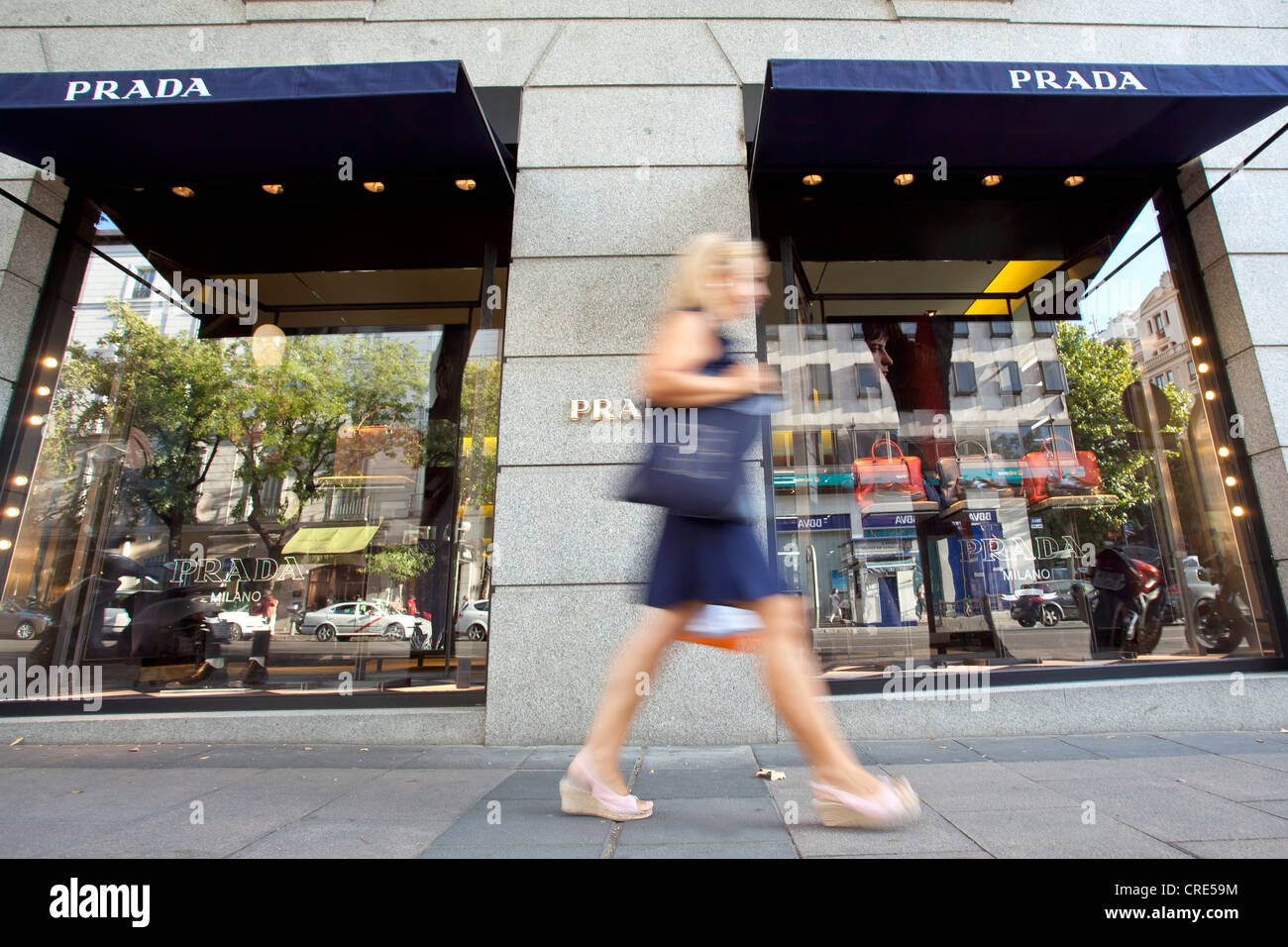 Branch of the Italian luxury leather goods and fashion company Prada, in the nobel-shopping street of Calle de Serrano - Stock Image