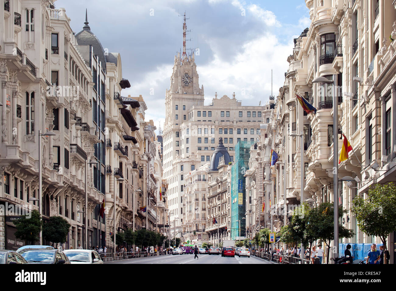 Gran Via boulevard with the head office, headquarters, of the Spanish telecommunications company Telefonica, Madrid, - Stock Image