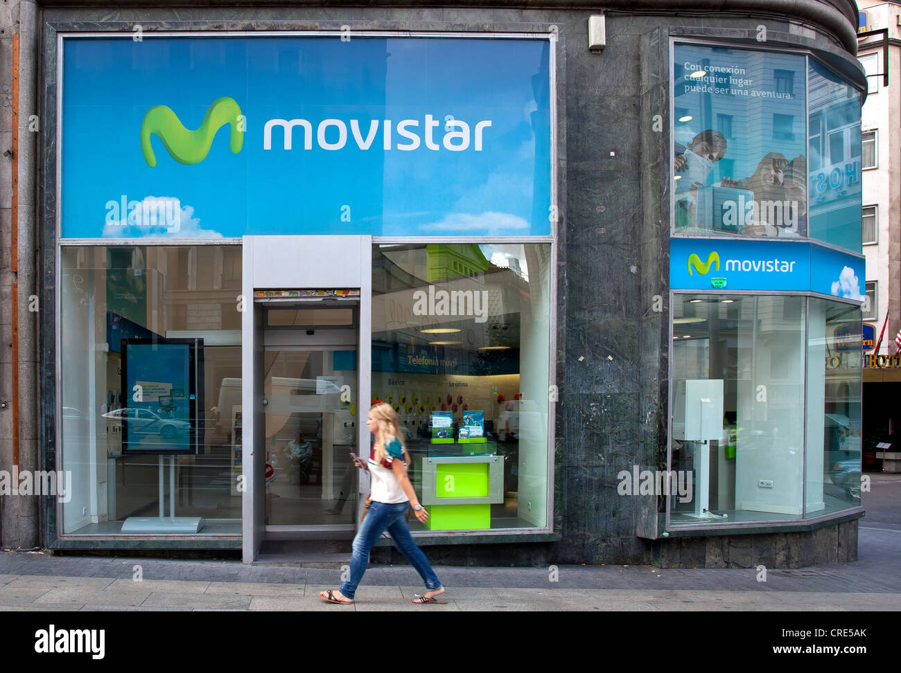 Branch of the Spanish mobile operator Movistar, in Madrid, Spain, Europe Stock Photo