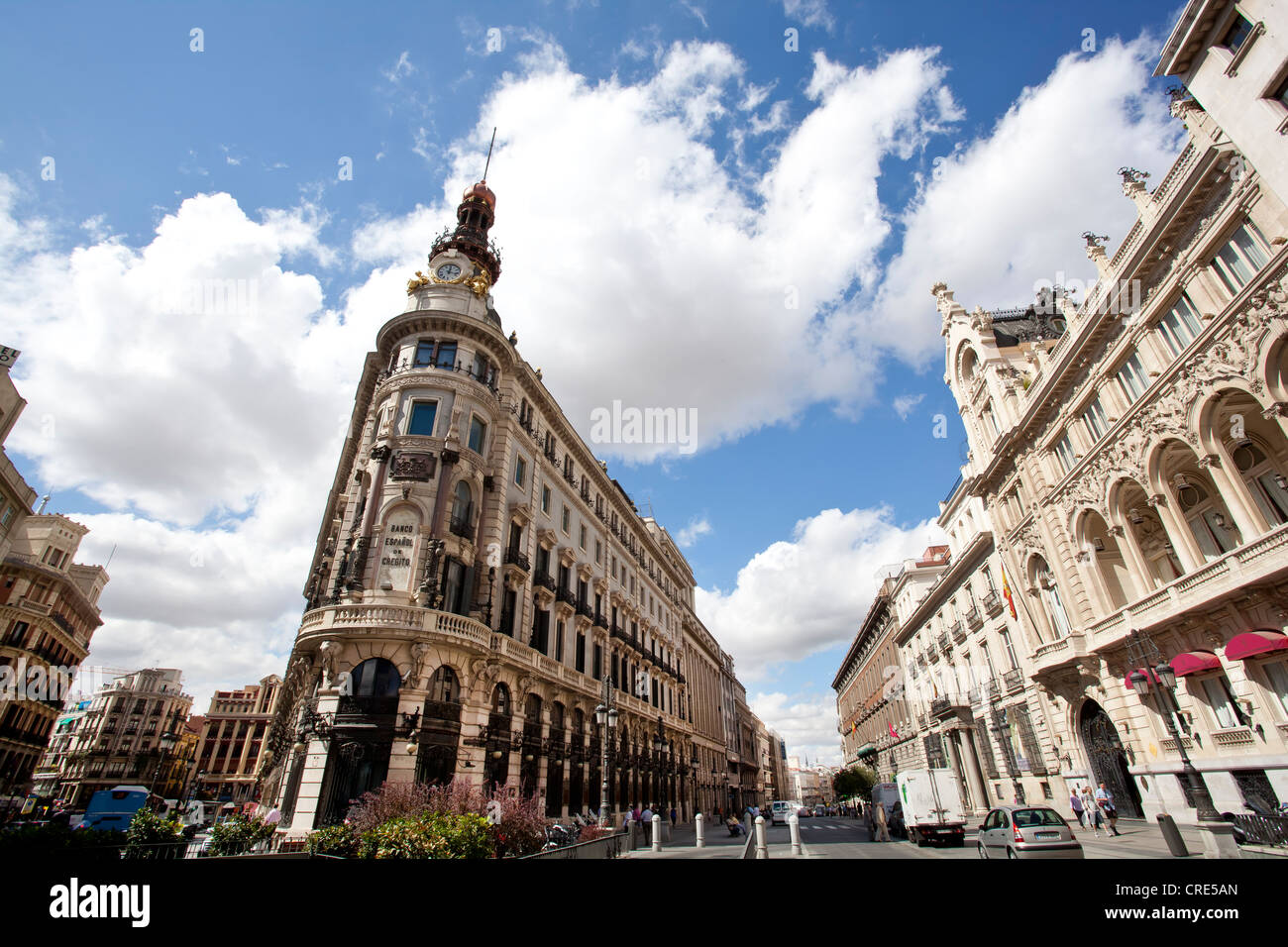 Bank building of Banco Espanol de Credito, in the Palacio de la Equitativa Palace, Madrid, Spain, Europe - Stock Image