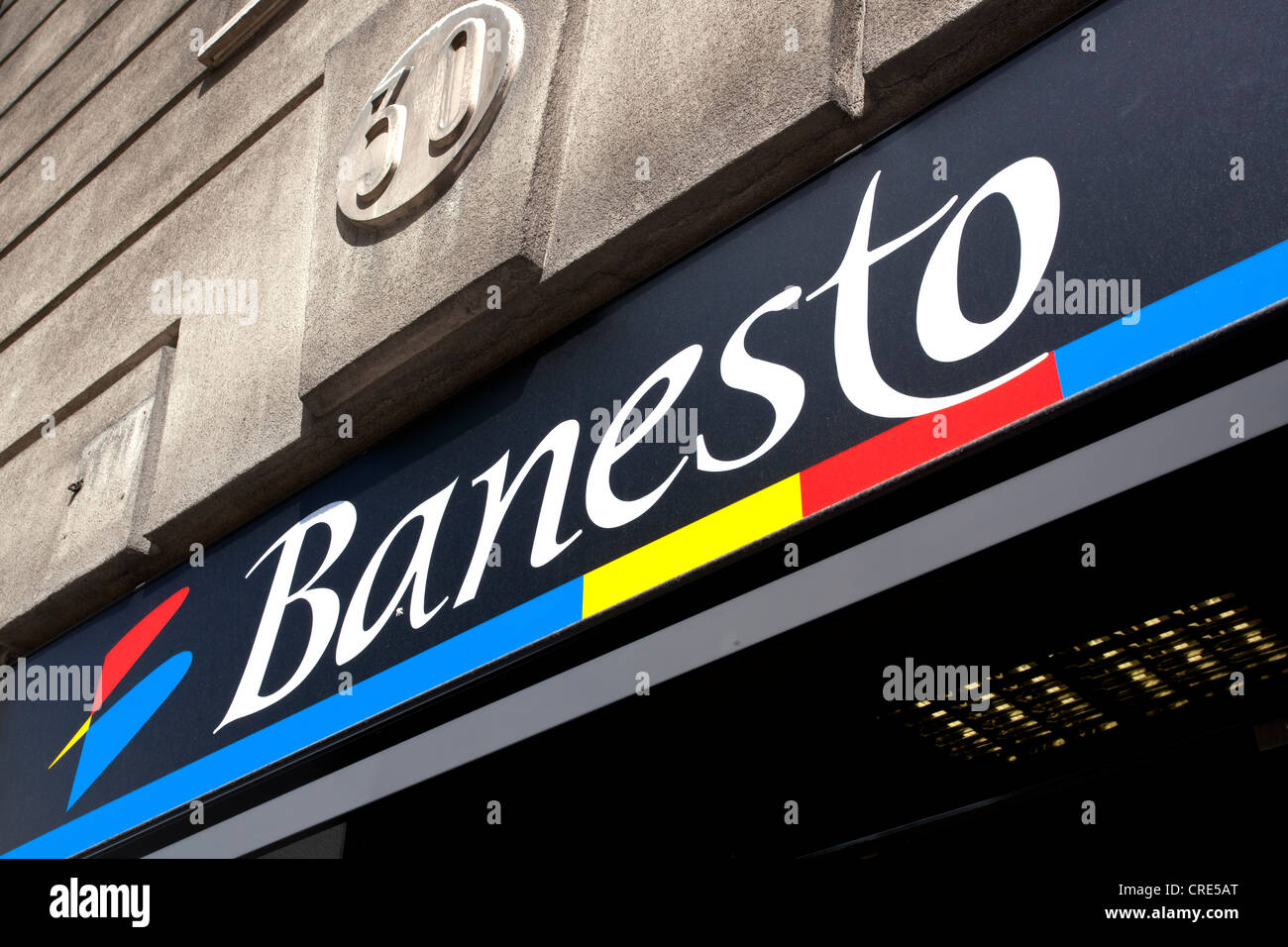 Logo and the Spanish bank Banesto, Banco Espanol de Credito, Madrid, Spain, Europe - Stock Image