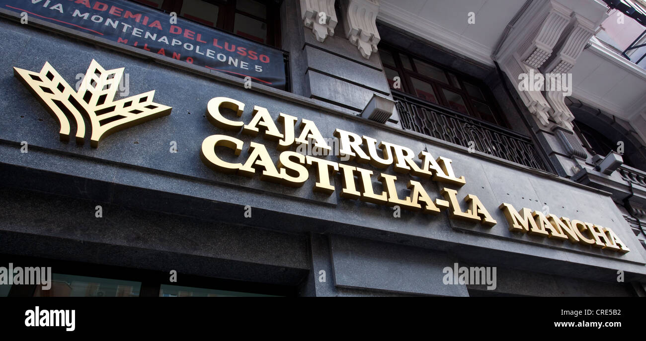 Logo of the Spanish bank Caja Rural Castilla-La Mancha, Madrid, Spain, Europe - Stock Image