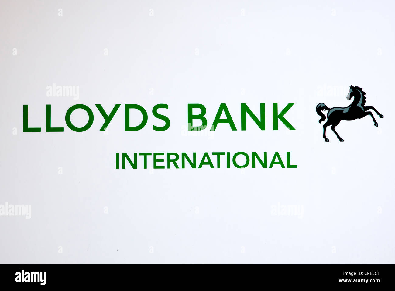 Logo and logotype of the British bank Lloyds Bank International, at a branch office in Madrid, Madrid, Spain, Europe - Stock Image