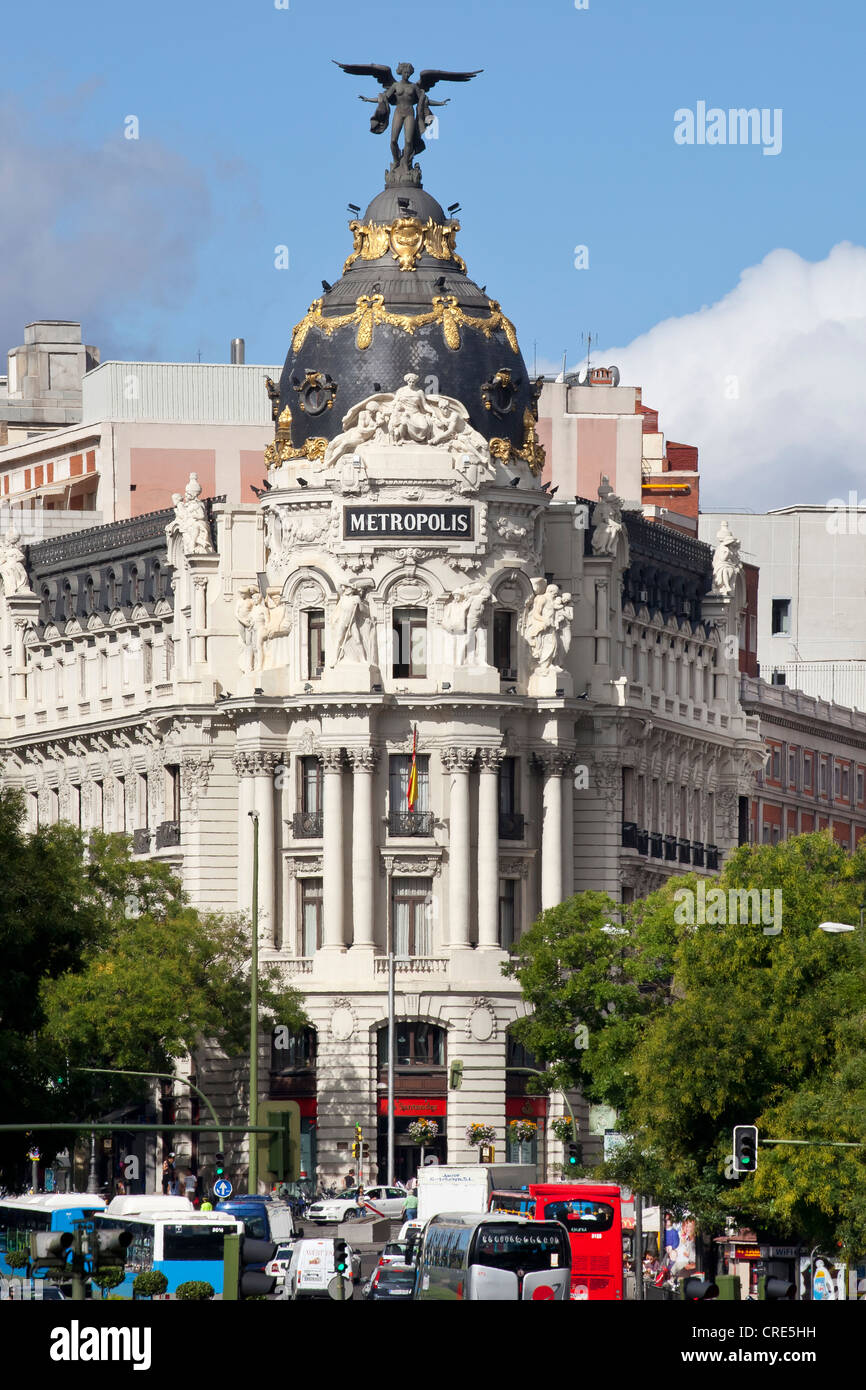 Metropolis Building, Edificio Metrópolis, on Gran Vía avenue, Madrid, Spain, Europe - Stock Image