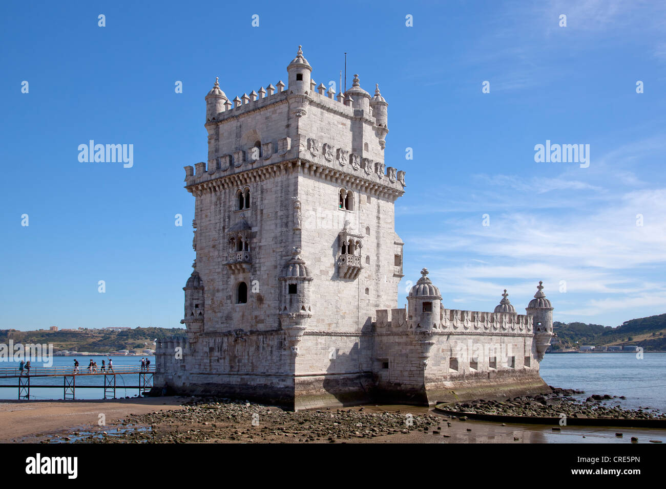 Torre de Belem, fortifications from the 16th Century, UNESCO World Heritage Site, at the mouth of the Rio Tejo River - Stock Image