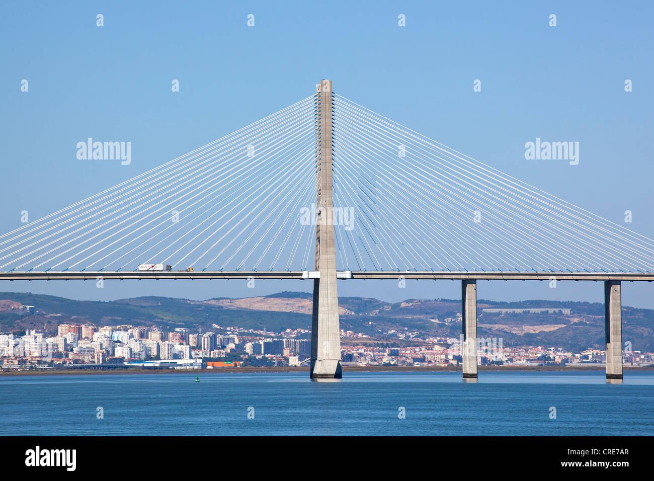 Ponte Vasco da Gama bridge crossing the Rio Tejo River, Lisbon, Portugal, Europe - Stock Image