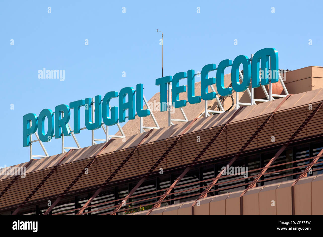 Signage on the headquarters of the Portuguese telecommunications company, Portugal Telecom, PT, in Lisbon, Portugal, - Stock Image