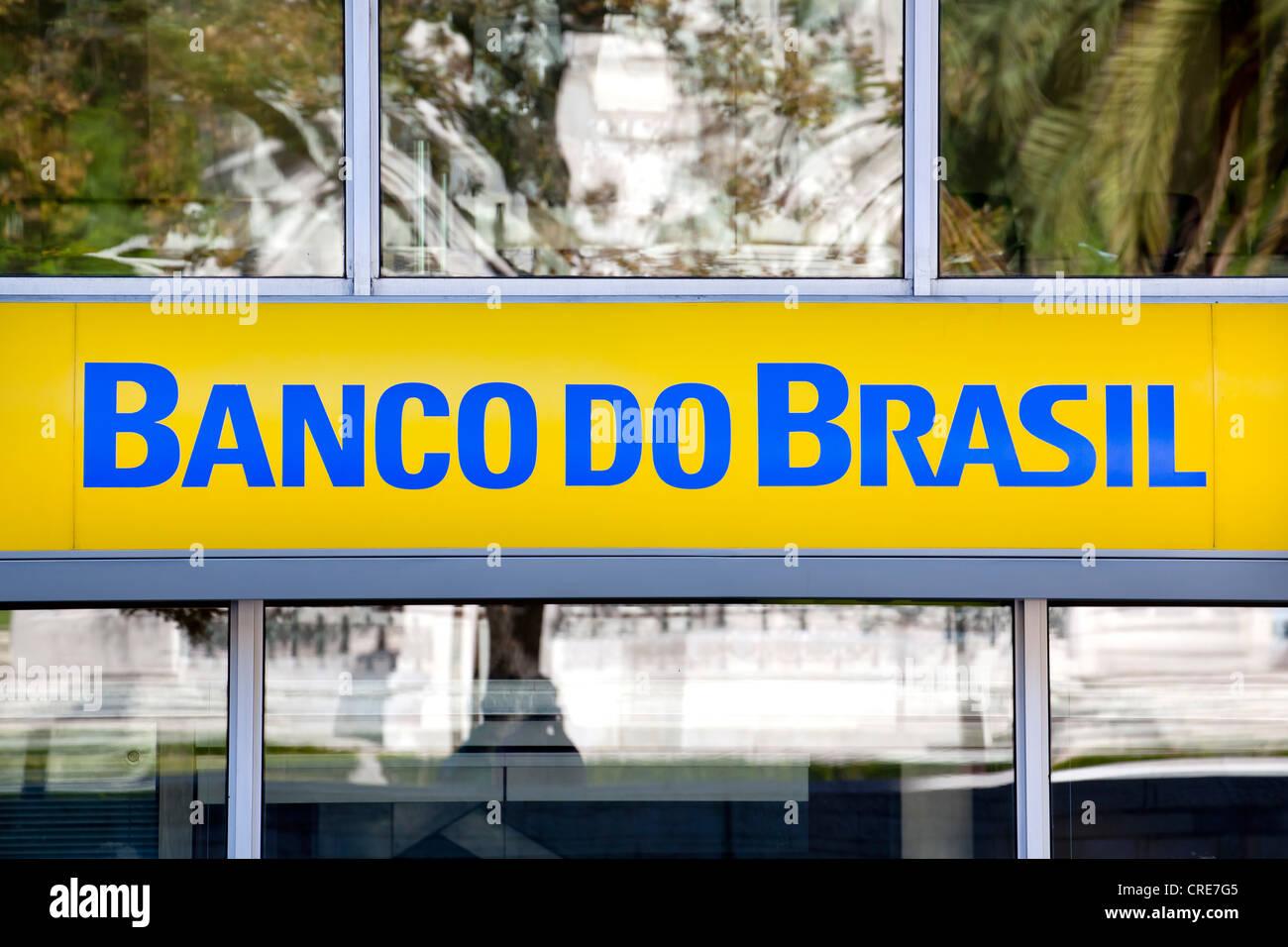 Logo, lettering on a branch of the Brazilian bank Banco do Brasil in Lisbon, Portugal, Europe - Stock Image