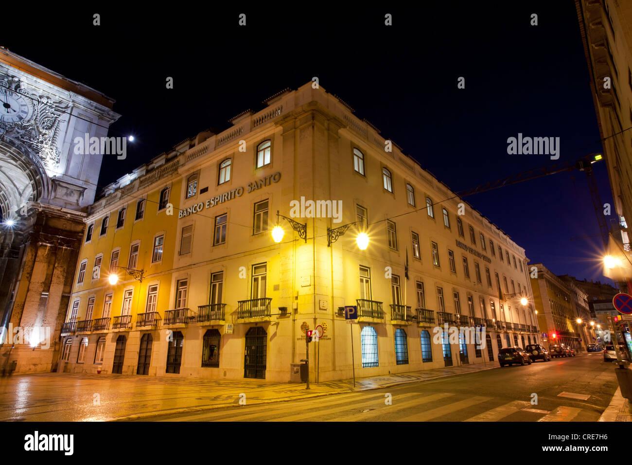 Branch of the Portuguese bank Banco Espirito Santo, BES, at night, Lisbon, Portugal, Europe - Stock Image