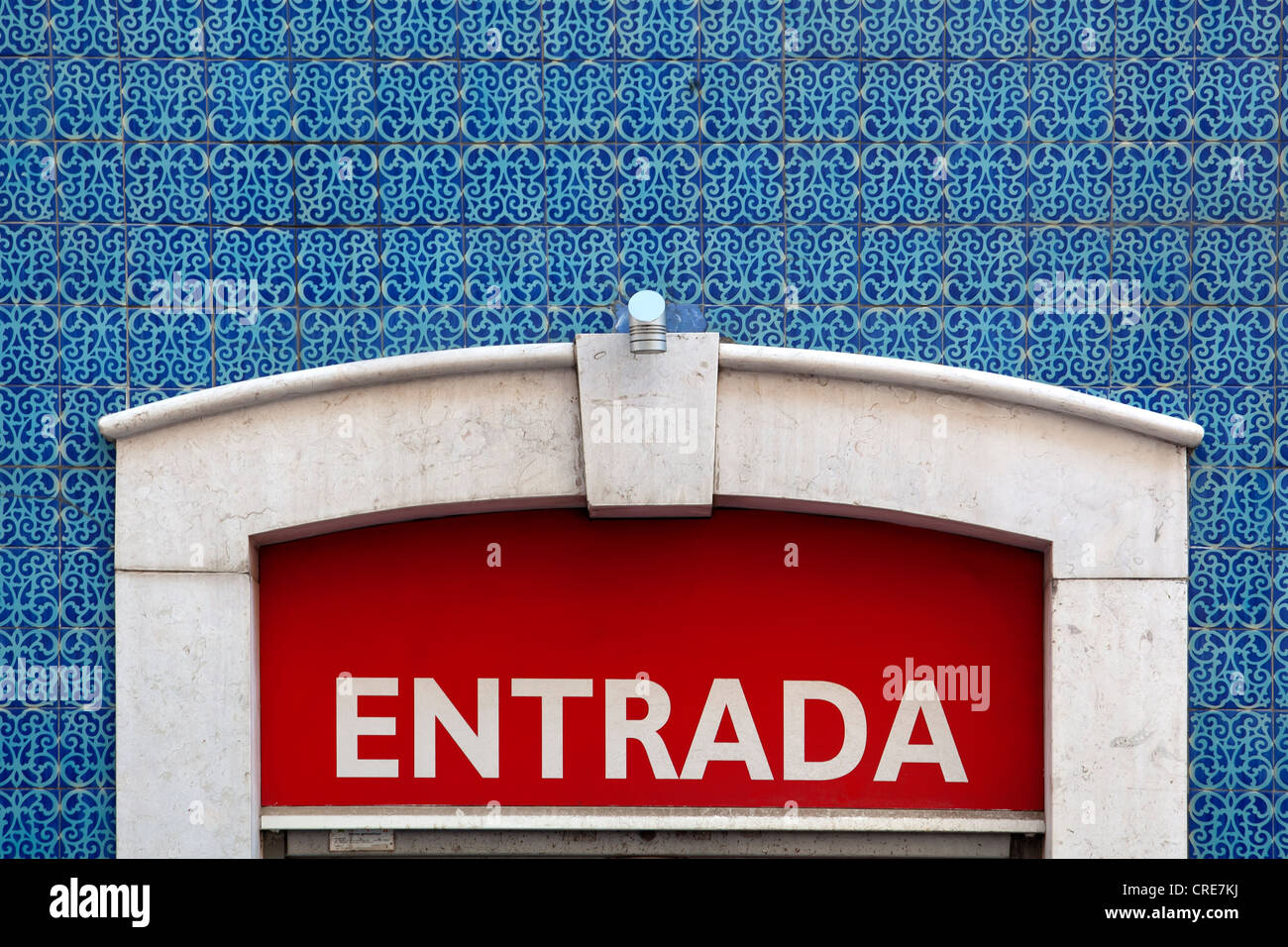 Entrada, entrance sign on a tiled wall in the historic district of Baixa in Lisbon, Portugal, Europe - Stock Image