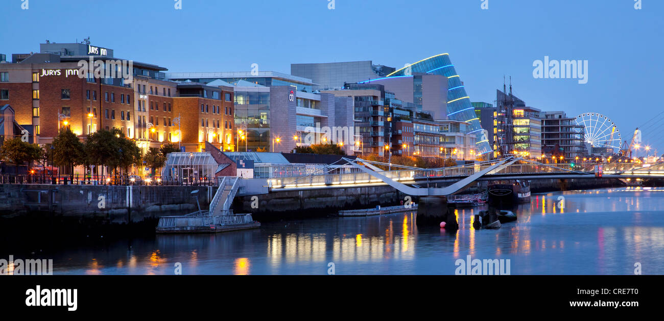 The Docklands, the former port area, with the Convention Centre Dublin on the River Liffey in Dublin, Ireland, Europe - Stock Image