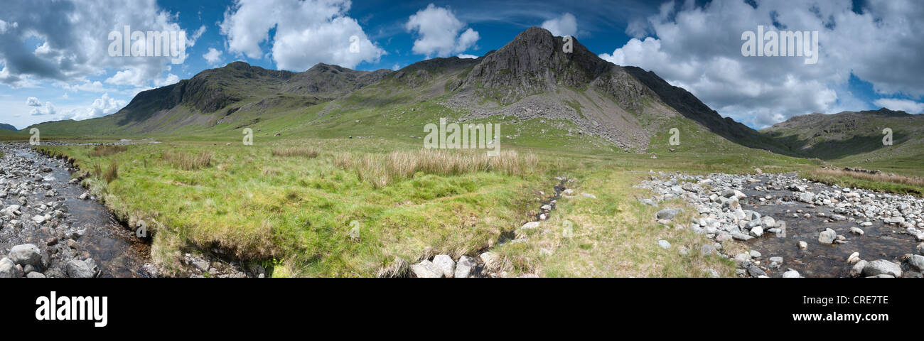 Panoramic of The Scafell range,  Slight Side, Sca Fell and Scafell Pike, the River Esk, Great Moss, Lake District, - Stock Image