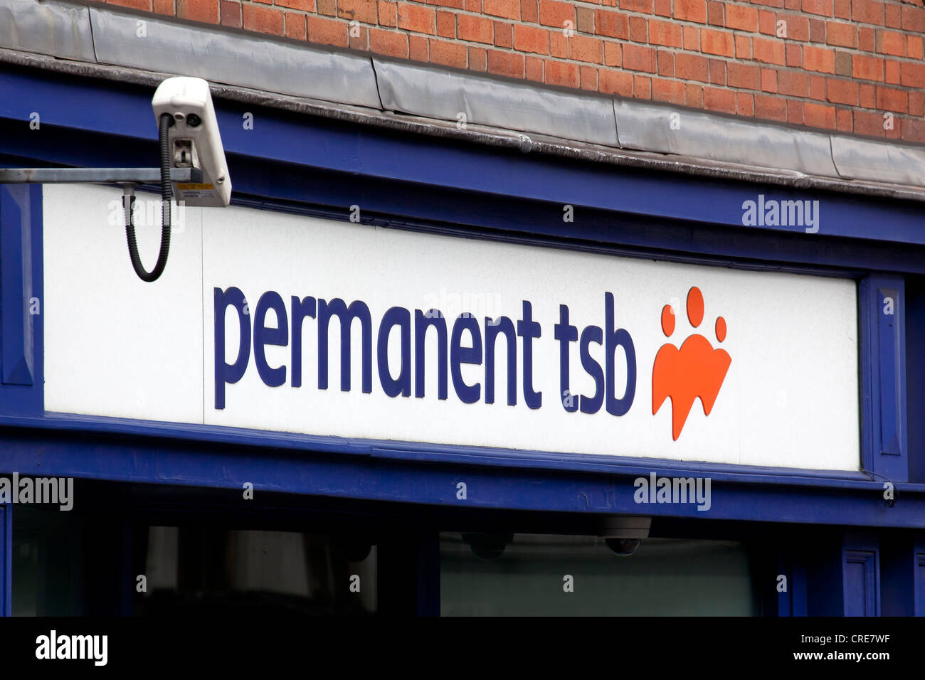 Logo on a branch of the Permanent TSB bank in Dublin, Ireland, Europe - Stock Image
