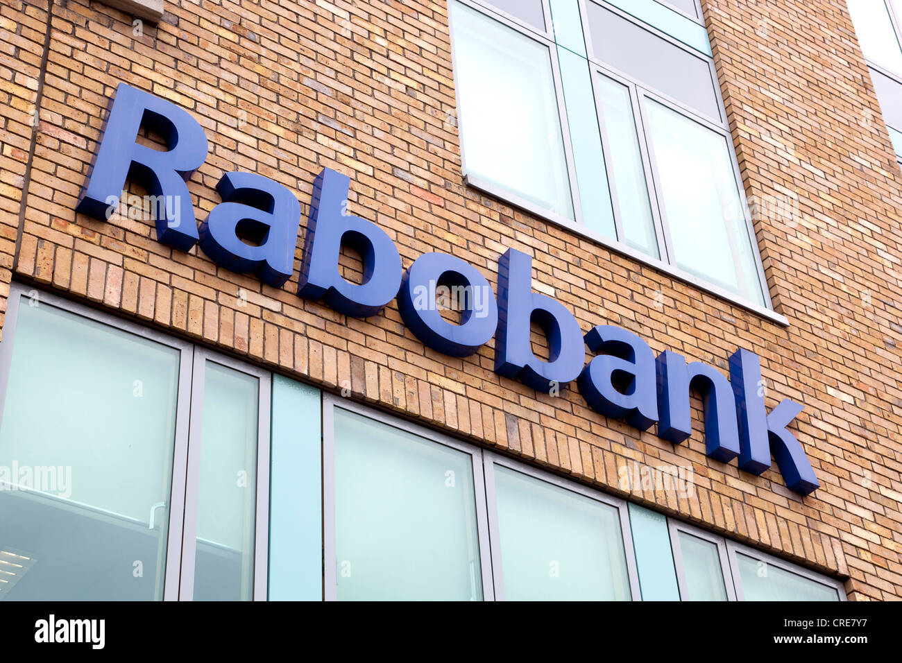 Logo on a branch of the Dutch cooperative bank Rabobank in Dublin, Ireland, Europe - Stock Image