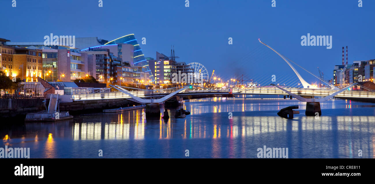 The Docklands, the former port area, with the Convention Centre Dublin and the Samuel Beckett Bridge by the architect - Stock Image