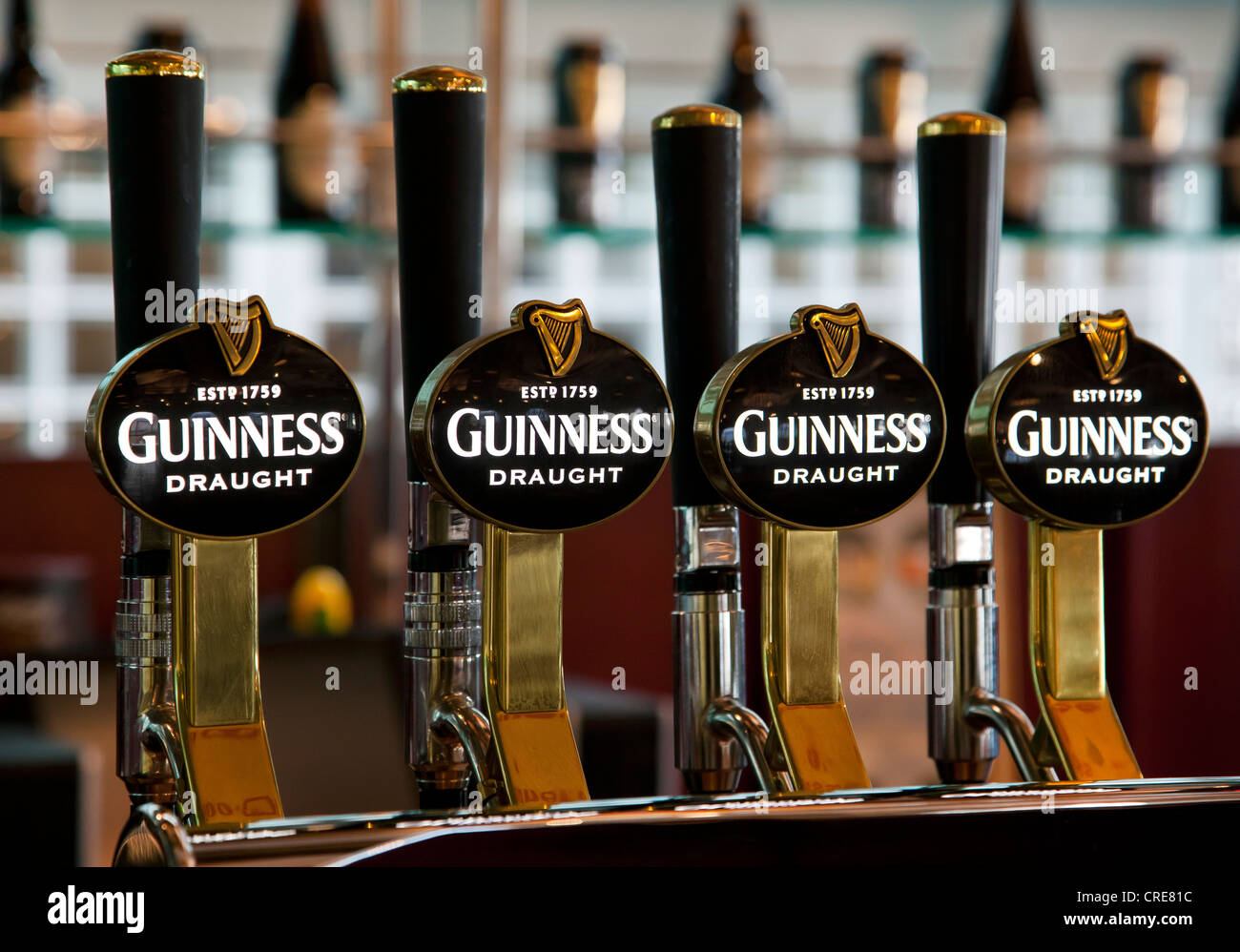 Taps with the Guinness logo in the Storehouse in the Guinness brewery, part of the Diageo drinks company, Dublin, - Stock Image