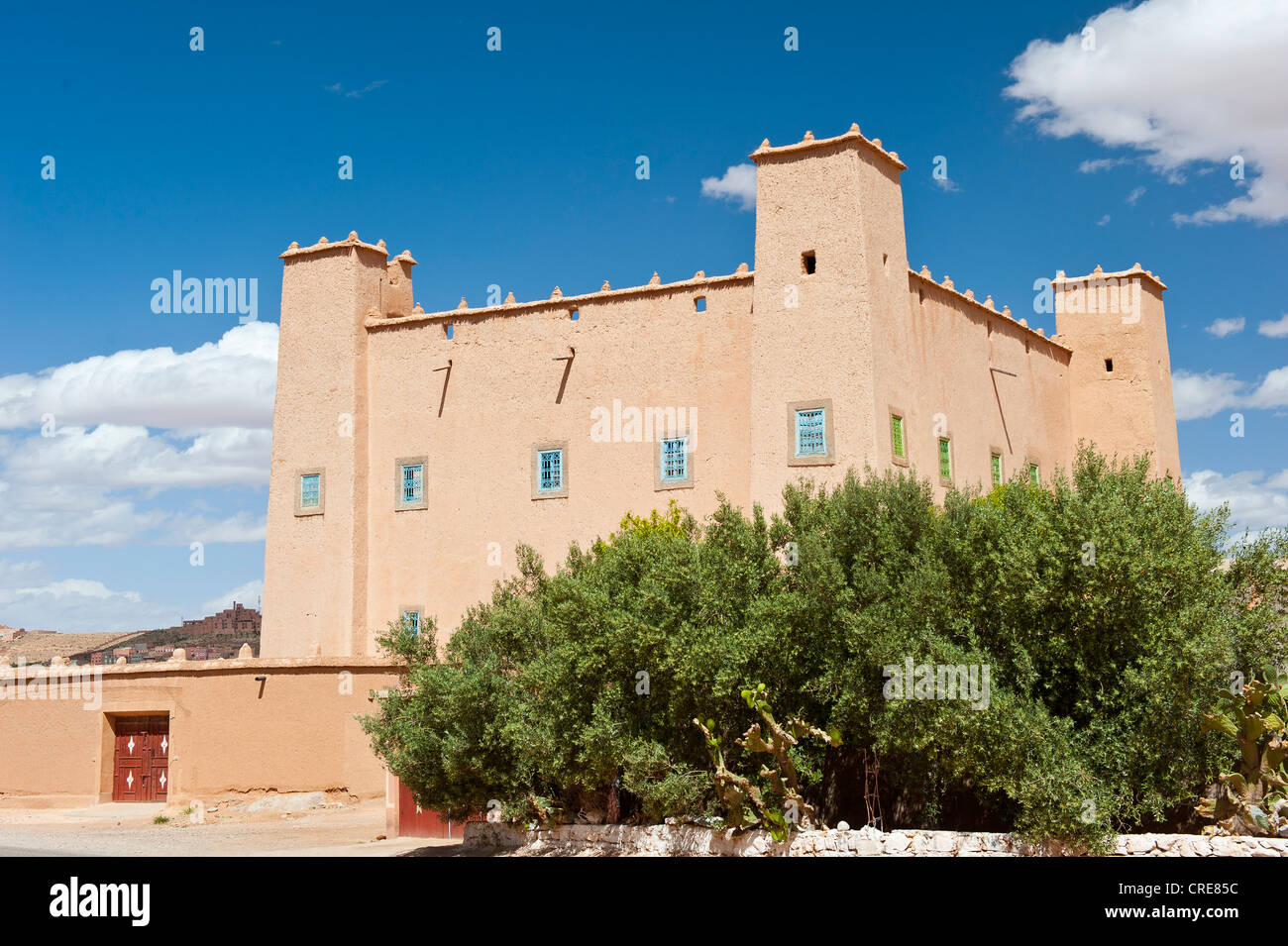Newly built Kasbah, built of rammed earth, Tighremt or stronghold of the Berber, Ouarzazate, Lower Dades Valley, - Stock Image