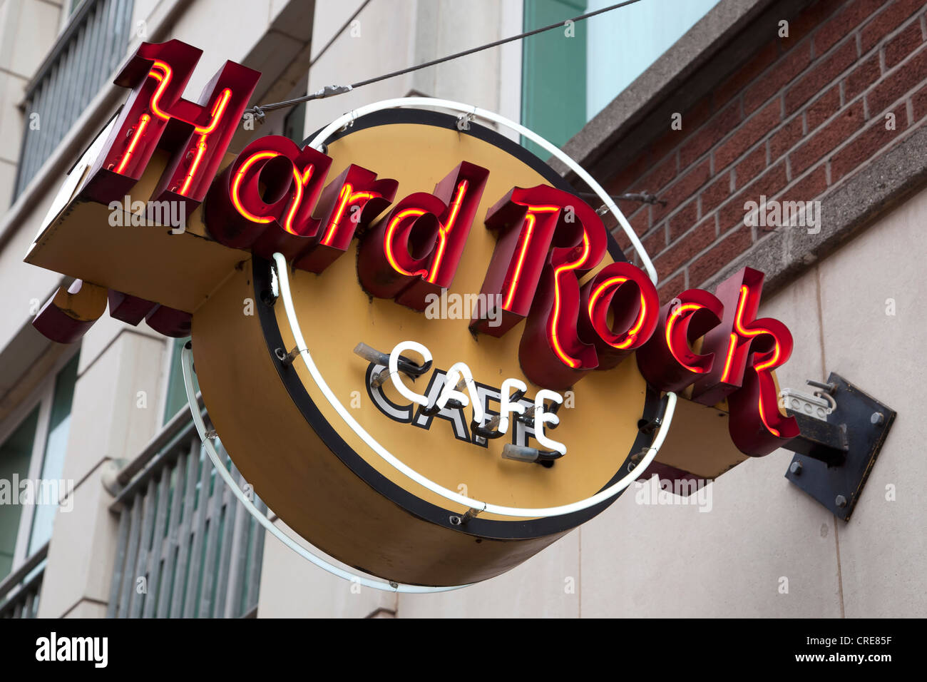 Logo of the Hard Rock Cafe in Dublin, Ireland, Europe - Stock Image