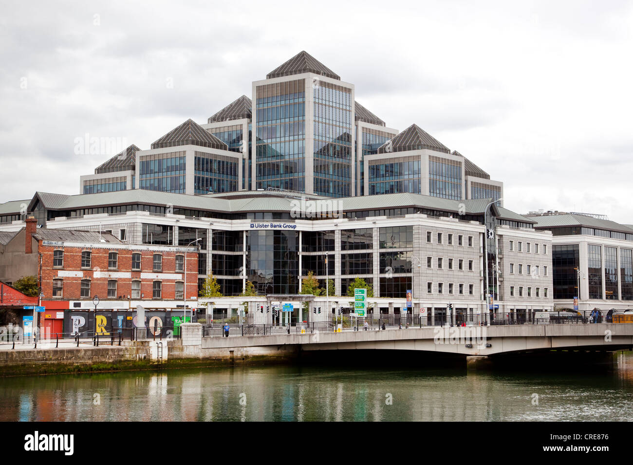 Headquarters of the Ulster Bank Group on the River Liffey in the financial district in Dublin, Ireland, Europe - Stock Image