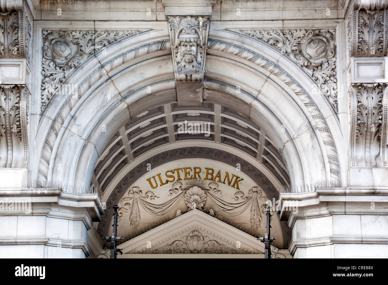Signage of the Ulster Bank on an old building in the financial district in Dublin, Ireland, Europe - Stock Image