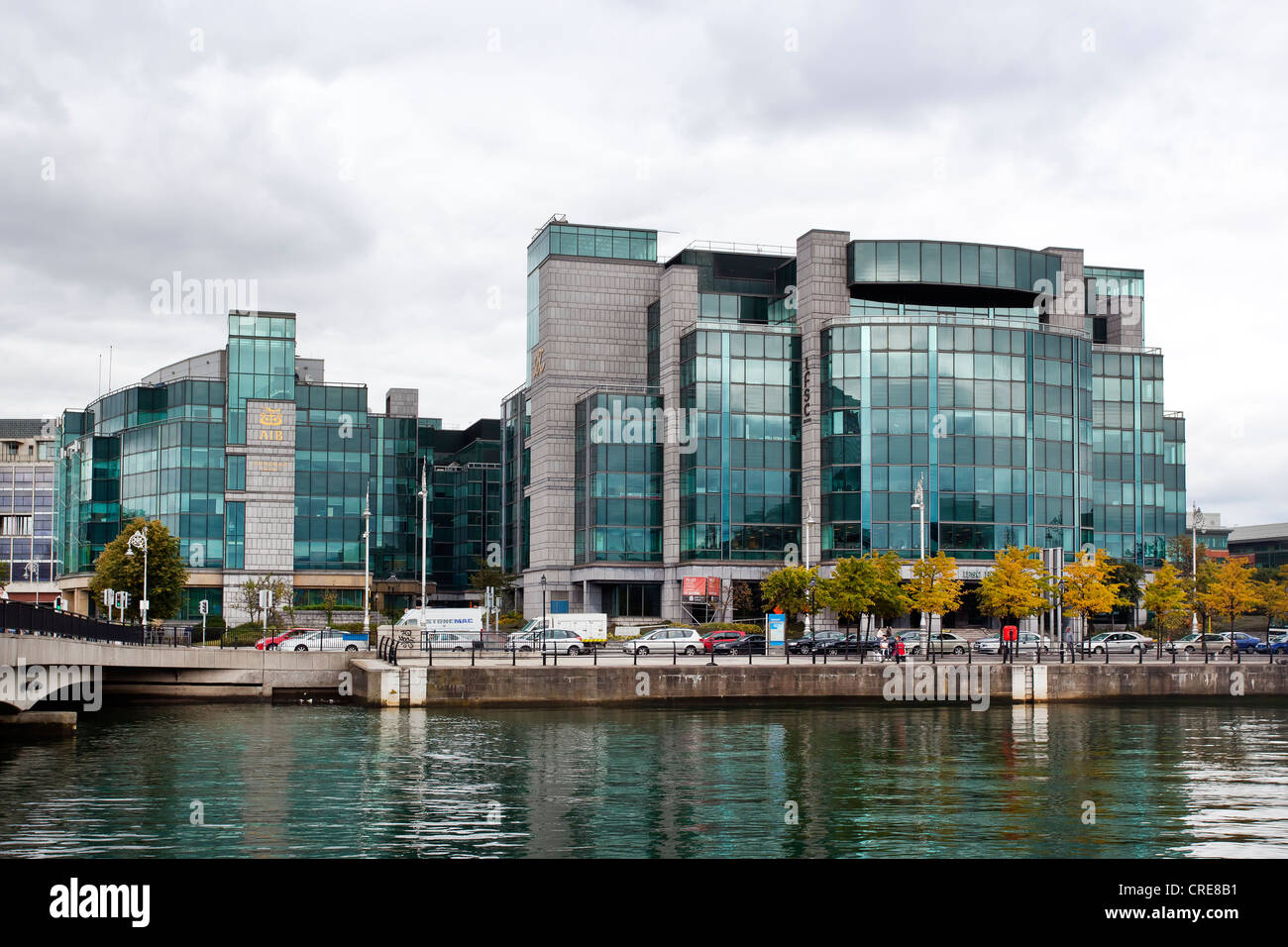 Headquarters of the Allied Irish Bank, AIB, on the River Liffey in the financial district in Dublin, Ireland, Europe - Stock Image
