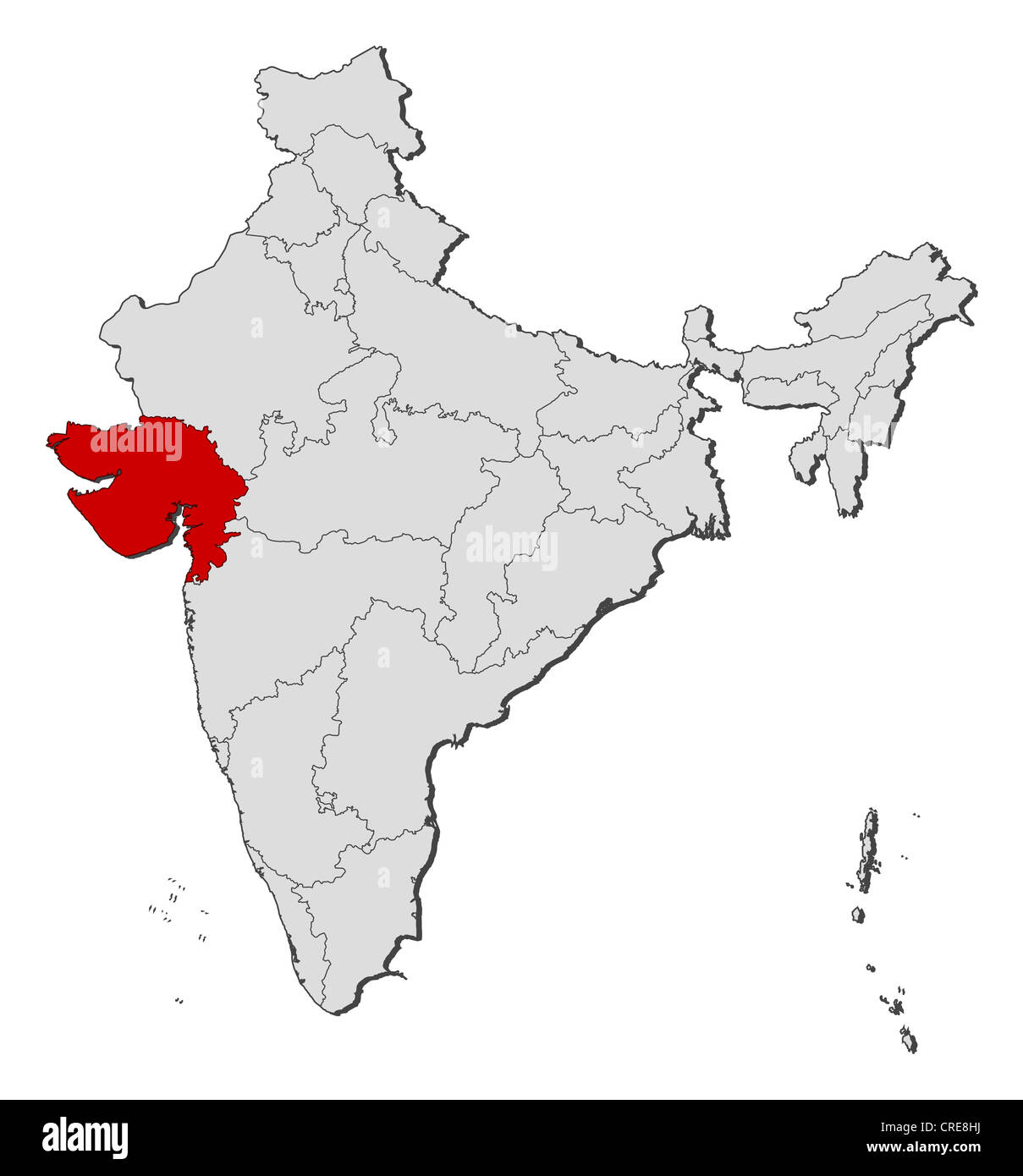 map of india gujarat Political Map Of India With The Several States Where Gujarat Is map of india gujarat